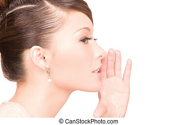 gossip - bright picture of young woman whispering gossip