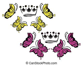 bright pink and yellow butterflies and crown on a white background illustration
