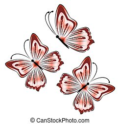 bright pink butterflies on a white background illustration