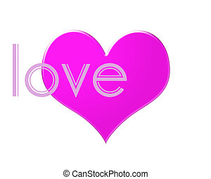 Bright pink Heart isolated on a white background with the word LOVE