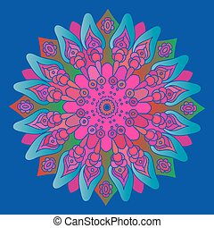 Bright pink mandala on the blue bac