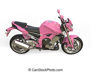 Bright pink modern motorcycle - top down side view