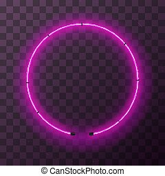 Bright pink neon round frame, template on transparent background