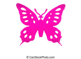 Bright pink plastic butterfly isolated on white