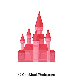 Bright pink princess castle. Fairy tale building with high towers and conical roofs. Flat vector for children book