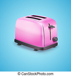 Bright pink toaster. Vector on blue background
