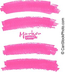 Bright pink vector marker stains set - Bright pink vector ...