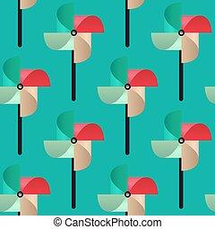 Bright Pinwheel seamless pattern. Child toy windmills. Vector.