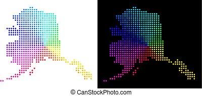 Bright Pixelated Alaska Map