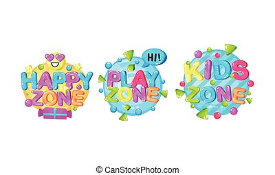 Bright Play Room Badges with Shapes Vector Set