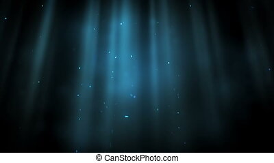 Bright points appearing in a blue ray against a black...