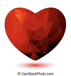 bright polygonal heart - Red dark polygonal heart isolated...
