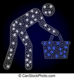 Glowing mesh polygonal tired buyer persona with light spots. Illuminated vector constellation created from tired buyer persona icon. Dark blue gradiented background.