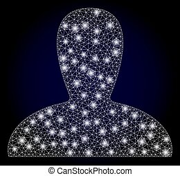 Bright mesh polygonal spawn persona with light spots. Illuminated vector model created from spawn persona icon. Dark blue gradient background. Sparkle carcass mesh polygonal spawn persona.