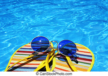 Bright Pool View - Flip flops and sunglasses by bright blue...