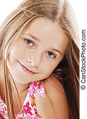 Bright portrait of blond small girl on white