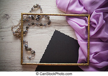 bright postcard background with various accessories
