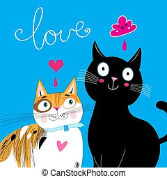 Bright Postcard with love cats
