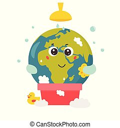 Bright poster with Cartoon Planet taking shower.