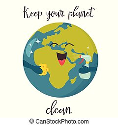 Bright poster with clean Cartoon Planet