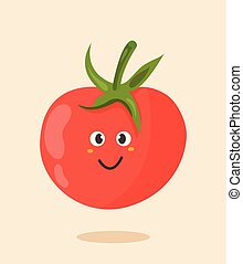 Bright poster with cute cartoon tomato