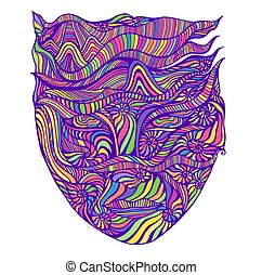 Bright Psychedelic Surreal Shamanic Abstract Face with many colorful patterns neon pastel color, isolated on white.
