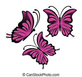 bright purple butterflies on a white background illustration