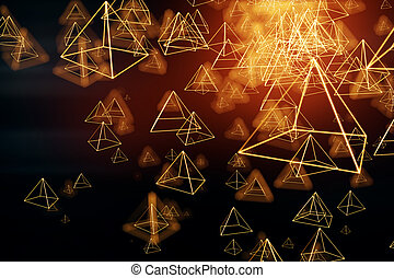 Bright pyramid background - Abstract bright polygonal...