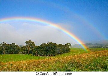 bright rainbow - bright ranch rainbow in Maui, Hawaii
