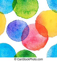 Bright rainbow colors watercolor painted circles seamless pattern