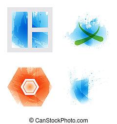 Bright rainbow colors watercolor painted vector logo