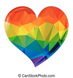bright rainbow heart - Bright rainbow heart isolated on a...