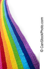 Bright rainbow knitted scarf