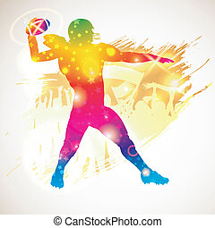 American Football Player - Bright Rainbow Silhouette...