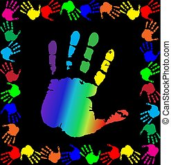 vector illustration with multicolored handprints border and big palm