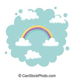 bright rainbow with clouds sky nature cartoon decoration