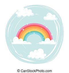 bright rainbow with clouds sky weather cartoon