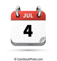 Bright realistic icon of calendar with 4 july date isolated on white