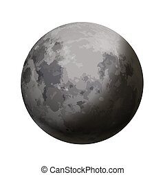 Bright realistic moon with shadow on white