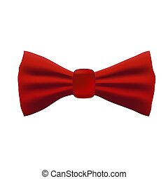 Bright realistic red bow tie on white