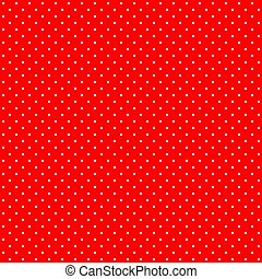 Bright red and white retro design polka dots background pattern, seamless square tile