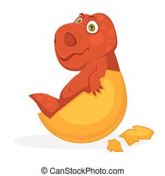 Bright red baby dinosaur inside yellow egg shell isolated...