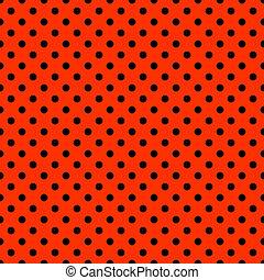 Seamless polkadot design, small black dots on bright red.