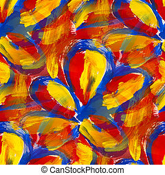 bright red blue yellow abstract background seamless gouache