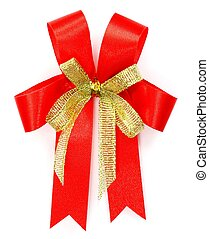 Bright red bow over white background