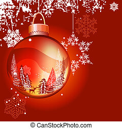 Bright red Christmas background with glass ball