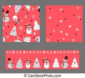 Bright red colors' Set with seamless patterns. Winter Christmas