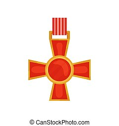 Bright red cross of valour. Honorary order of military...