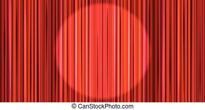 Bright red curtain with round spotlight lighting, retro theater stage background