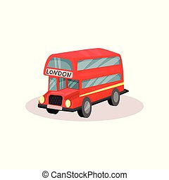 Bright red double decker bus. Popular public transport in London. Famous symbol of England. Flat vector icon